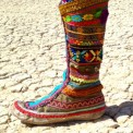 rainbow ribbon boots for my Burning Man wedding