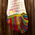 knit rainbow grocery bag, made by Julianne