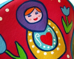 teal Russian doll seat detail