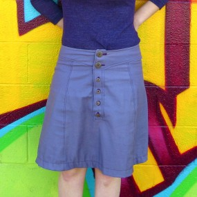 purple denim skirt