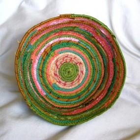 green and coral silk bowl