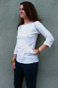 navy dot shirt