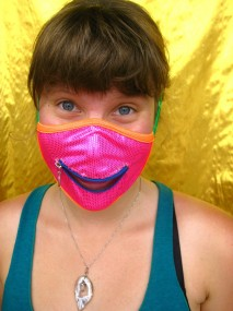 Hannah in a neon mask