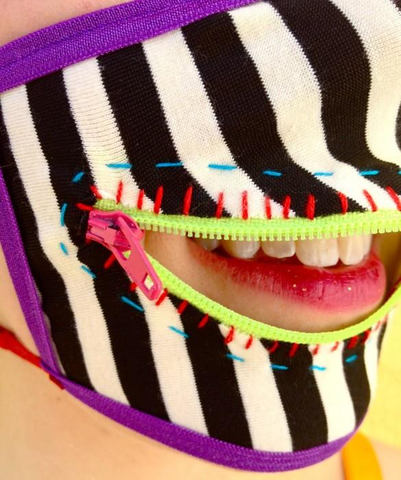 caution stripes zipper mask