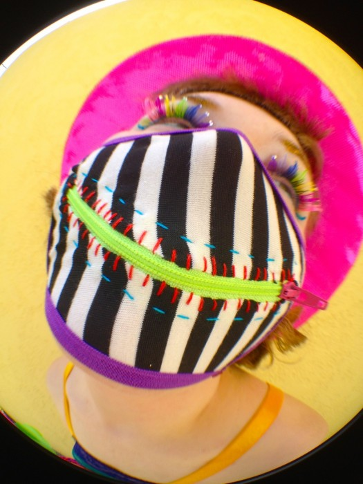 caution stripes zipper mask