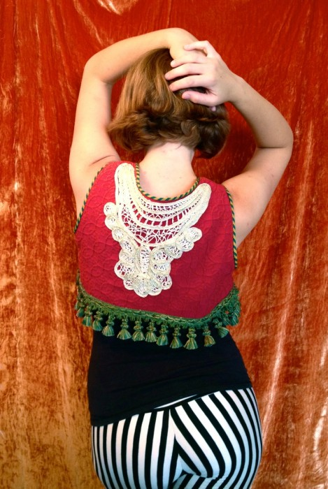 Reversible gypsy vest-lace detail