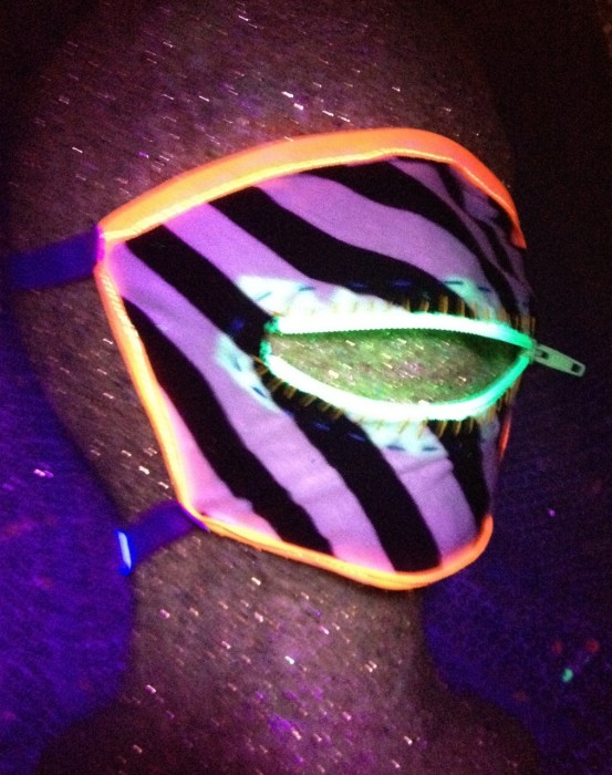 black light  zipper dust mask for Burning Man