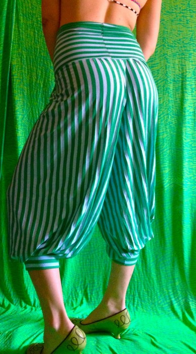 striped genie pants