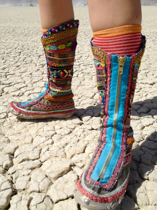 rainbow ribbon boots at burning man