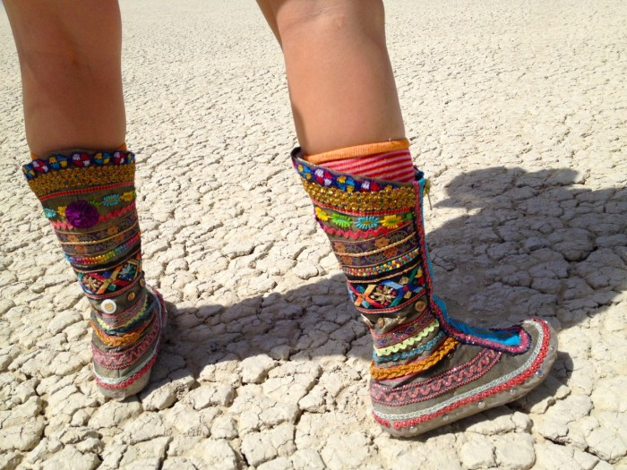 rainbow ribbon boots