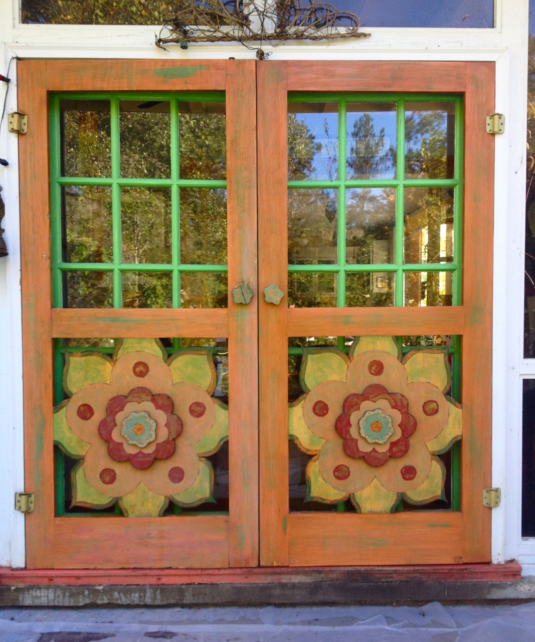 Painted doors home decorating with old wood doors help for Door design with highlighter