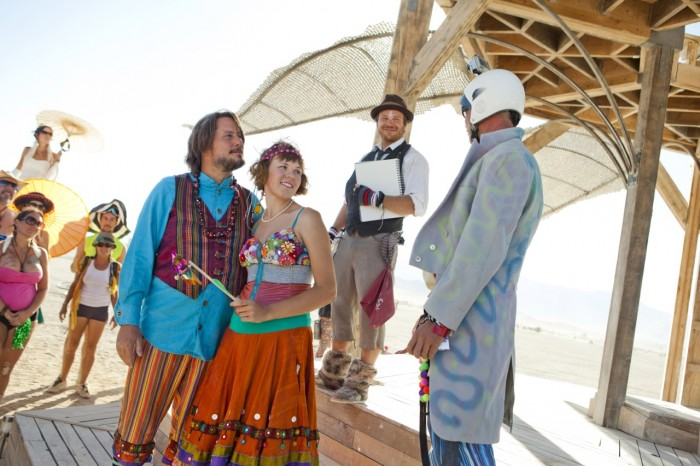 rainbow Burning Man wedding, Made by Julianne, Photos by Blake Gardner