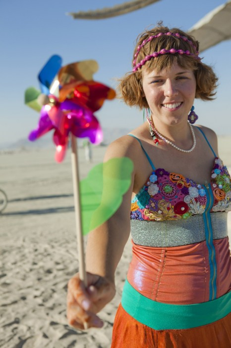 rainbow Burning Man wedding, Made by Julianne, photo by Blake Gardner