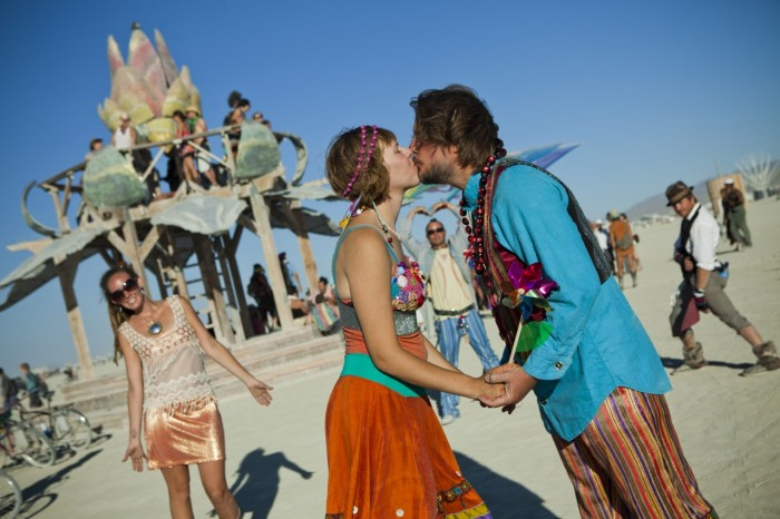 rainbow Burning Man wedding, Made by Julianne, photo by Alex Finseth