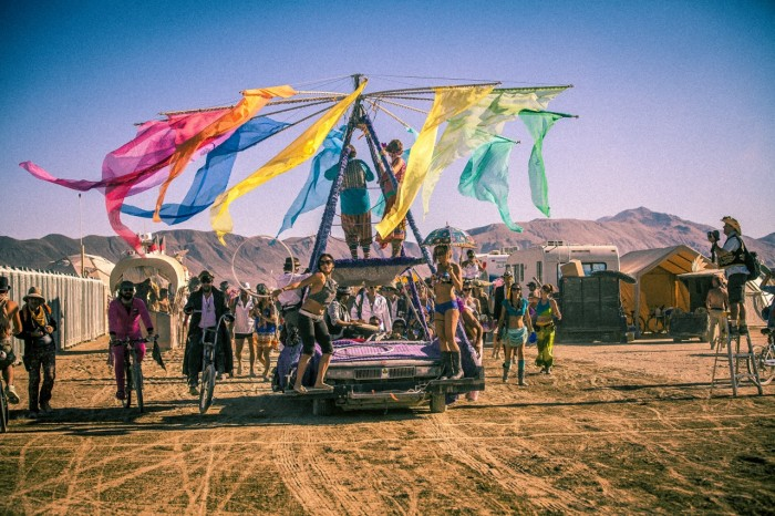 rainbow Burning Man wedding, Made by Julianne, Photos by Aleck Gandel