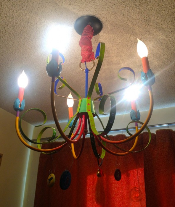 rainbow painted chandelier, made by Julianne