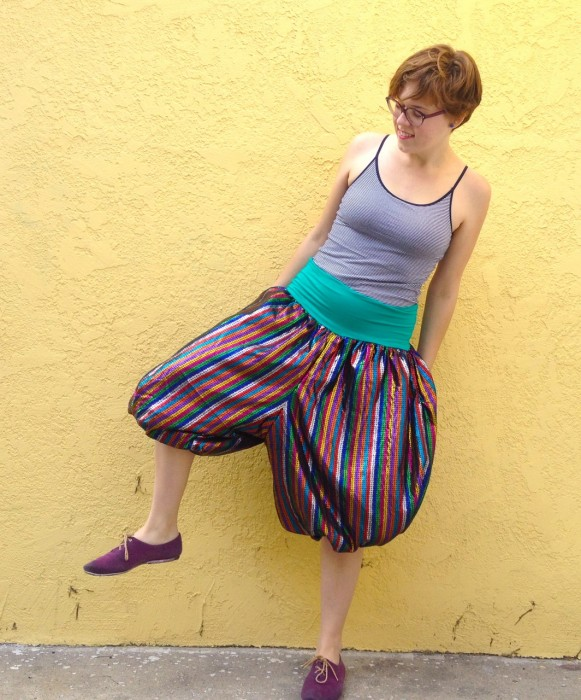 rainbow stripe balloon pants, made by Julianne