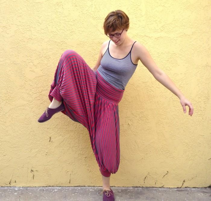 pink genie pants, made by Julianne