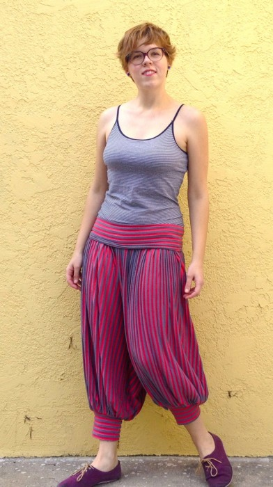 pink genie pants, made by Julianne