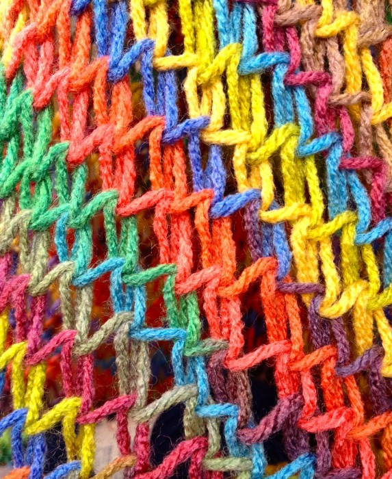 knit rainbow bag, made by Julianne