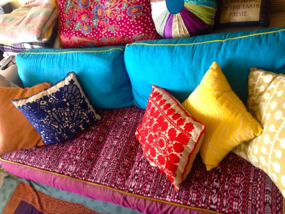 rainbow pillows, made by Julianne