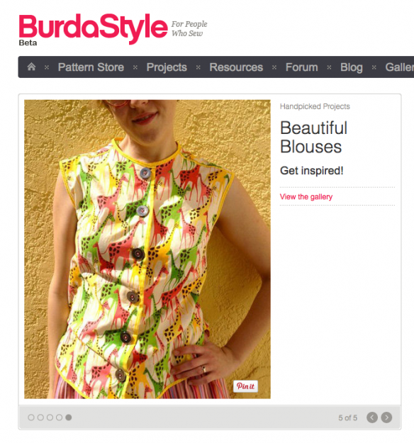 vintage giraffe blouse on Burda, made by Julianne