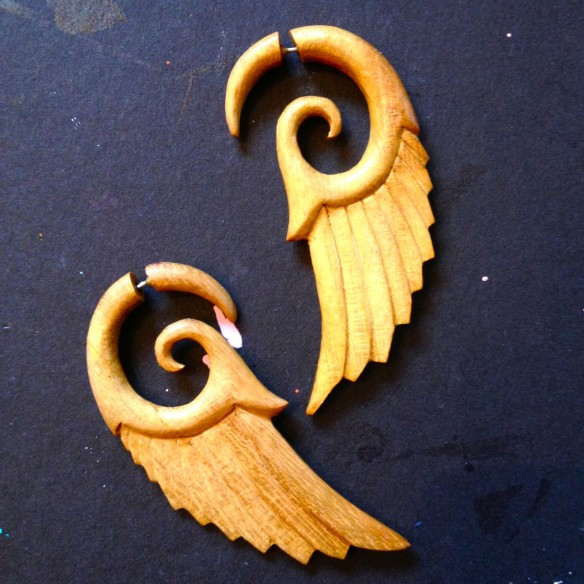 feather earrings, made by Julianne