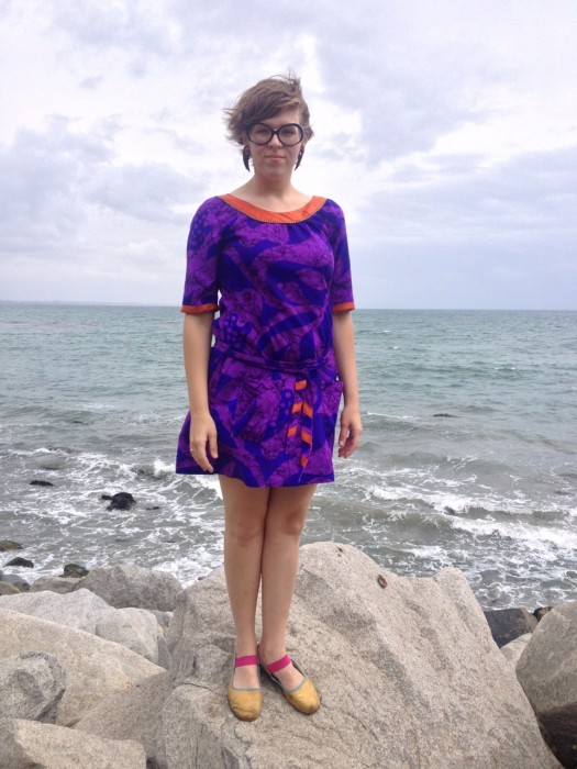 purple Hawaiian shift dress, made by Julianne