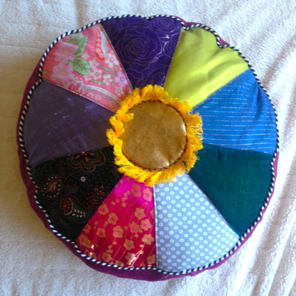 rainbow pillow, made by Julianne