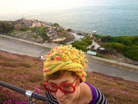yellow anemone hat, made by Julianne
