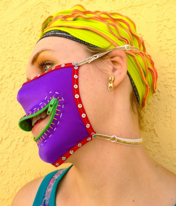 sequin zipper gag mask, made by Julianne
