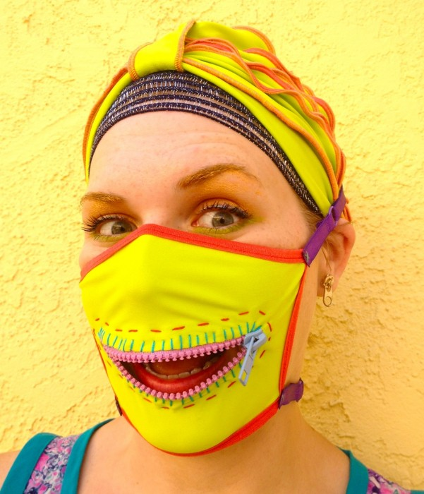neon zipper gag mask, made by Julianne