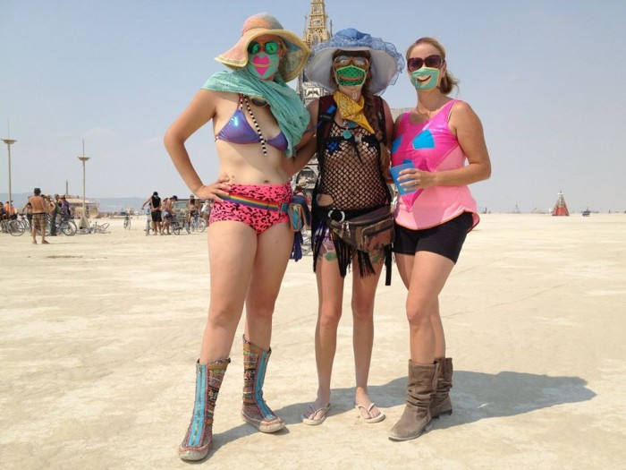 zipper dust masks, Burning Man 2013, made by Julianne