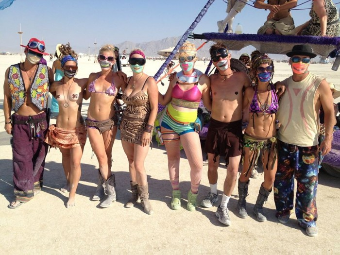 zipper masks at Burning Man, made by Julianne