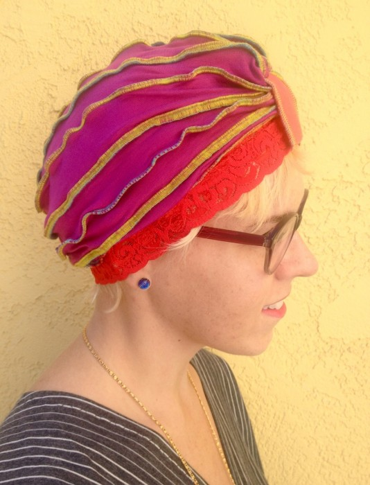 lace ruffled turban, made by Julianne