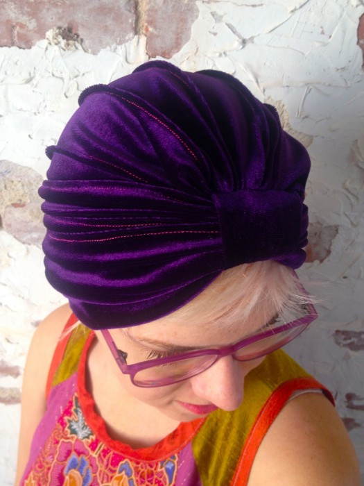 electric blue turban, made by Julianne