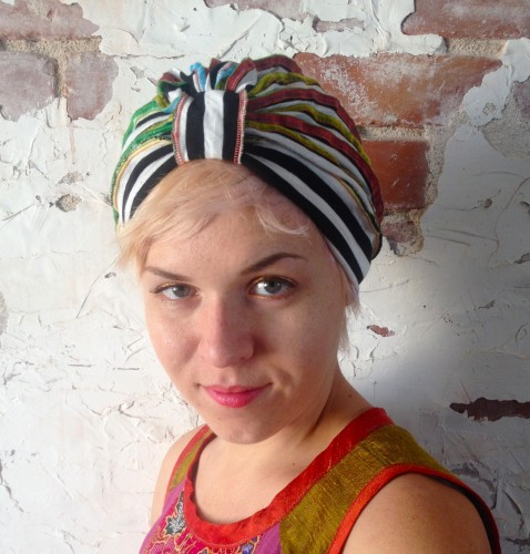 rainbow turban, made by Julianne