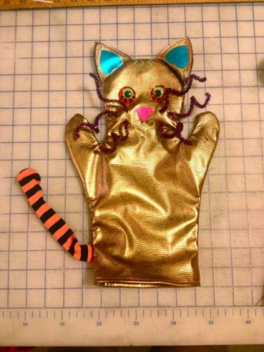 slowjam the cat puppet, made by Julianne