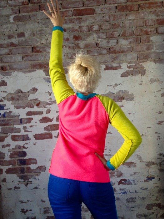 neon raglan sweatshirt, made by Julianne
