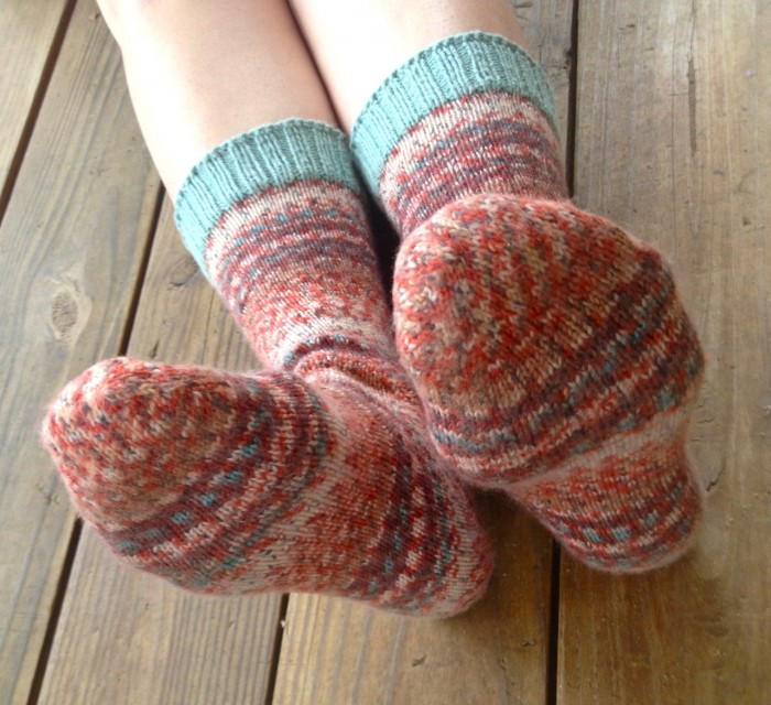 self-striping socks, made by Julianne