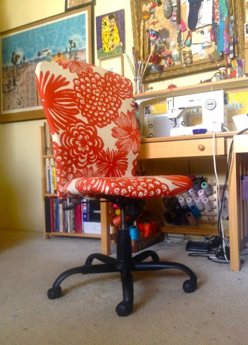 recovered chair, made by Julianne