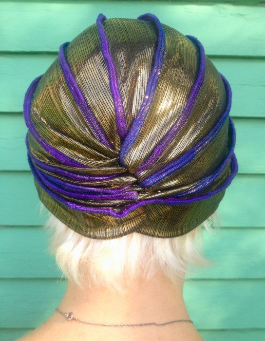purple and gold turban, made by julianne