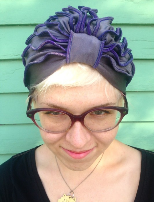 gray turban, made by Julianne