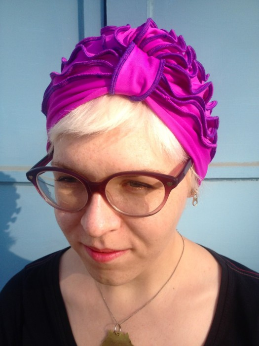 fuchsia turban, made by Julianne