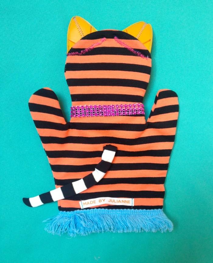 cat puppet, made by julianne