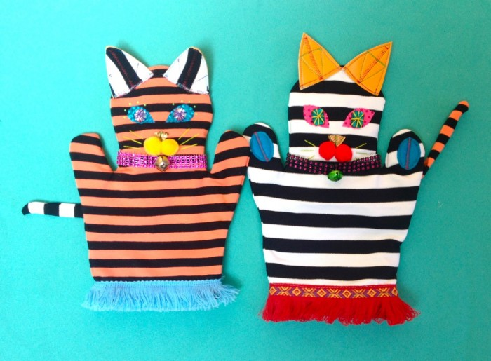 cat puppet, made by julianne