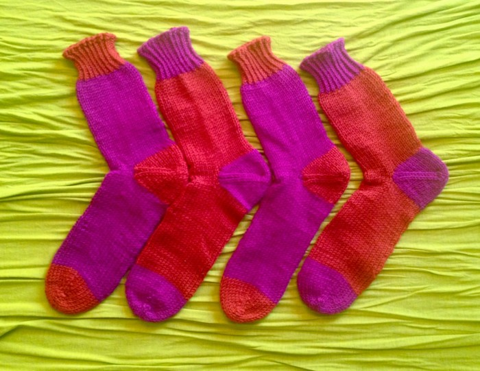 worsted weight socks, made by Julianne