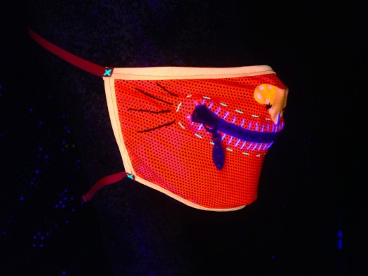 neon zipper mask, made by Julianne