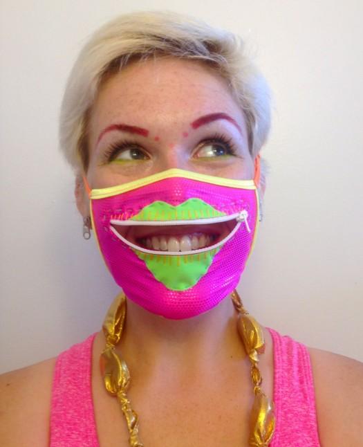 neon zipper mask, made by Julianne