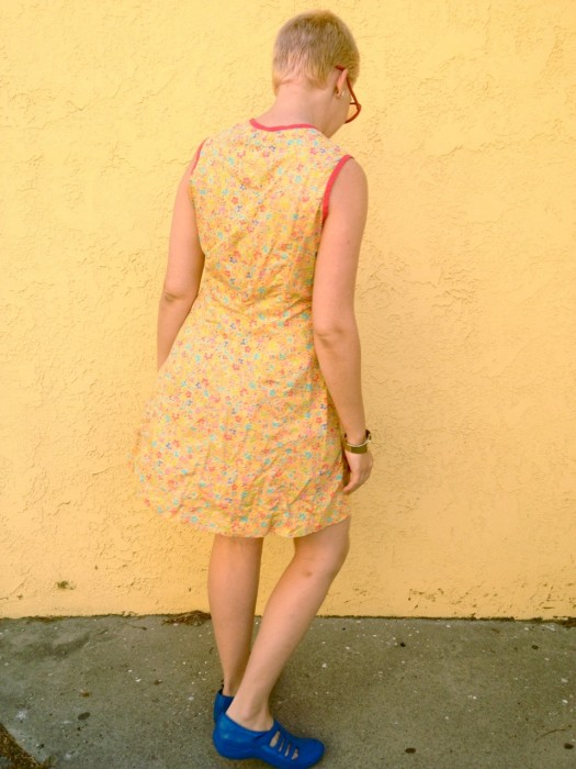 yellow floral shift dress, made by Julianne
